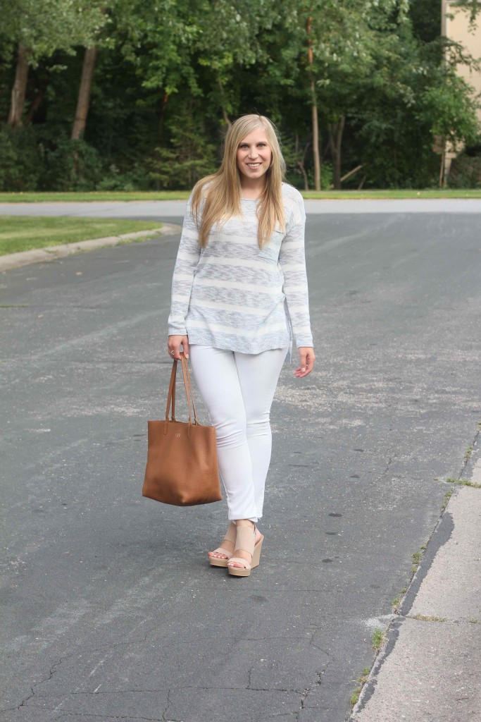 Stripe Slub Knit Pullover