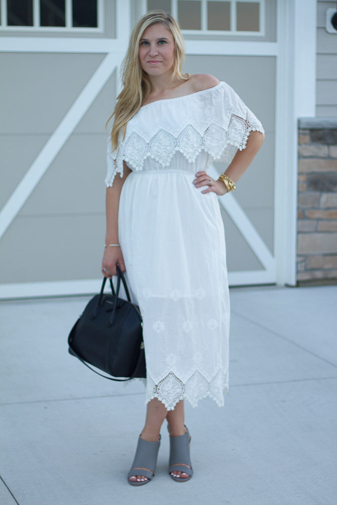 Lacey Flair Off-shoulder Maxi Dress