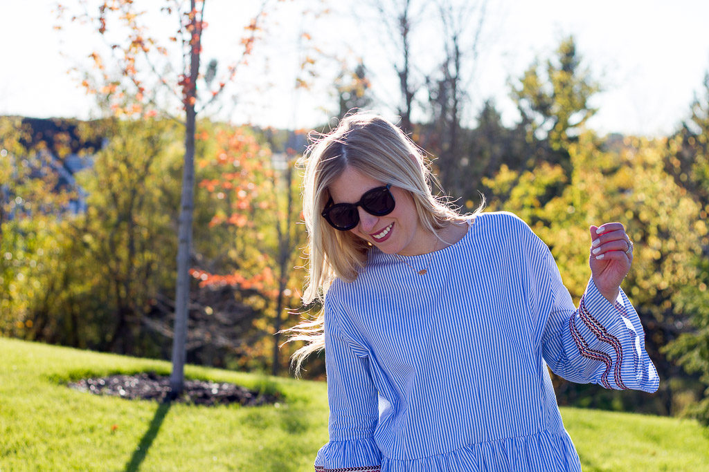 Blue Stripe Leisure Top with Bell Sleeves