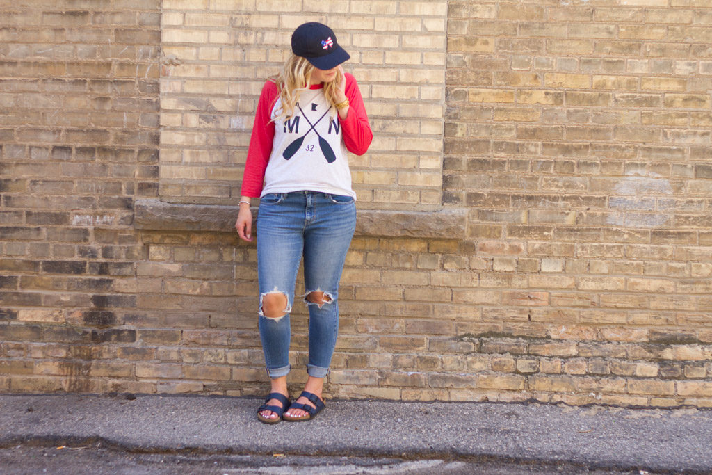 White and Red Sota tee with distressed jean