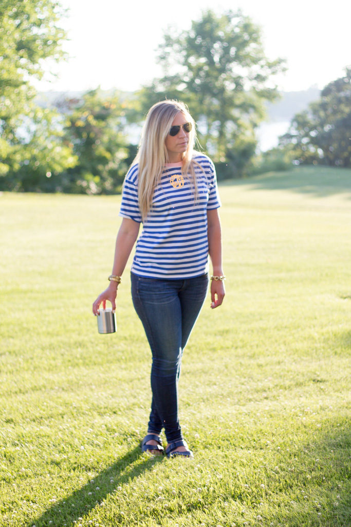 Stripe Contrast T-Shirt with Love Always Monogram Necklace