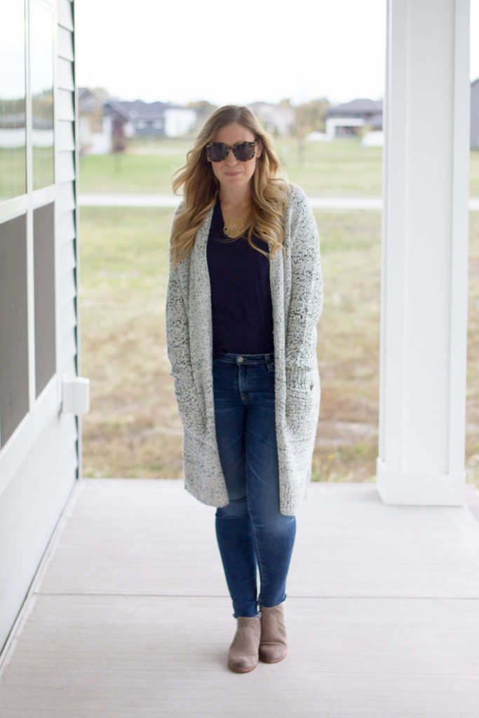 Long Cardigan with Navy Tee