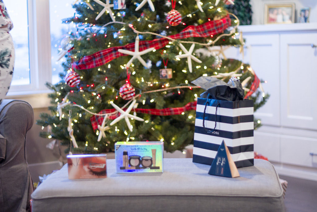 Gifts in front of our Christmas tree