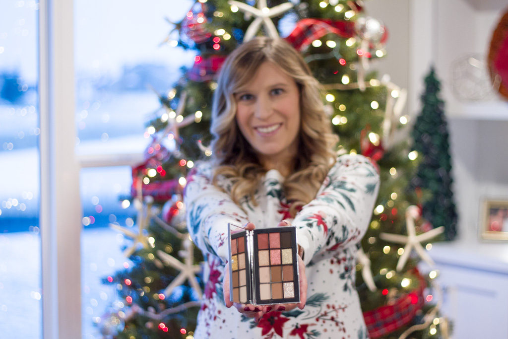 NARSissist Wanted Eyeshadow Palette in front our Christmas tree