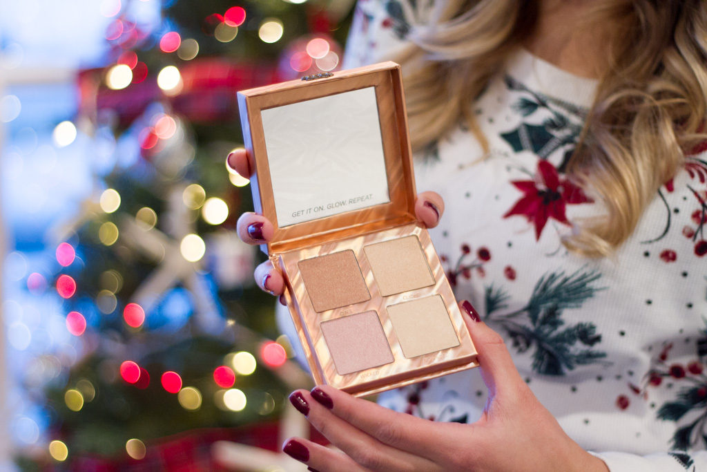Urban decay after glow palette in front of Christmas tree