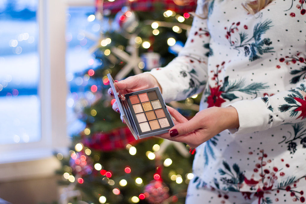 NARSissist Wanted Eyeshadow Palette in front of our Christmas Tree